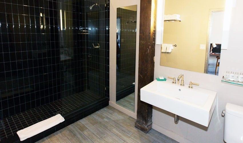Bathroom pic at Roundhouse Hotel Beacon, NY