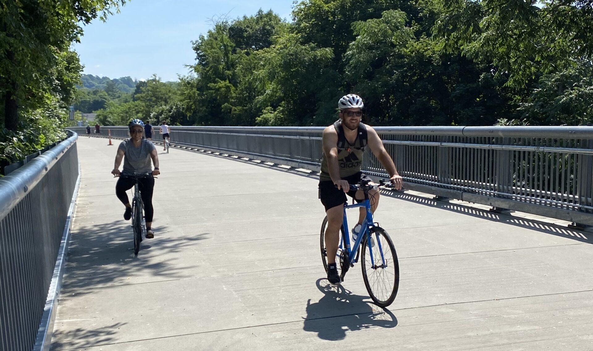 Biking on the Walkway Over the Hudson, Poughkeepsie, NY