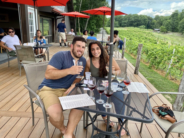 Enjoying wine at Benmarl Winery